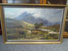 Daniel Sherrin (1868-1940), Highland Cattle in a Glen, signed lower right, oil on canvas, framed.
