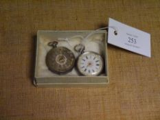 Two Continental silver cased ladies open face fob watches, each 935 grade, one with gilt highlighted