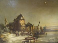 Flemish School, 19th Century, By the River Bank on a Winters Day, oil on canvas, in a gilt-