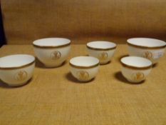 A group of tea wares from the Palace of Holyrood House, including two breakfast cups, bowls etc (6