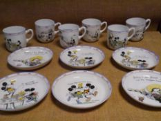 A rare set of six Royal Paragon Walt Disney Mickey Mouse series tea cups and saucers, c. 1930,