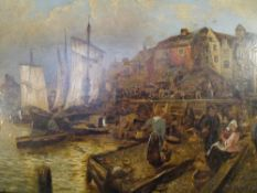 Continental School, Fisherfolk at the Wharf, oil on board, in a gilt-composition frame. 21cm by 31cm