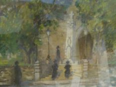 Early 20th Century School, Figures by a Memorial, pastel, framed. 32cm square