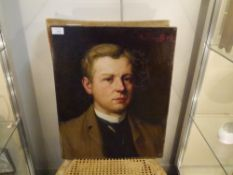 English School, c. 1900, Portrait of a Young Gentleman, oil on canvas, signed indistinctly top