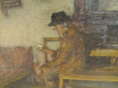 Eugene Dekkert (German 1865-1956), A Quiet Read, signed lower right, framed. 51cm by 45cm