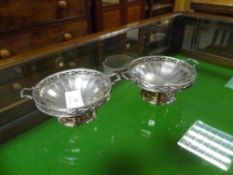 A pair of George V silver footed dishes, Walker & Hall, Birmingham 1926, each twin-handled with