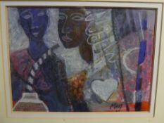 Marj Bond RSW (Scottish, b. 1939), Sula's Guru, mixed media, signed, Fair Maids House Gallery and