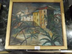 Sir Nicholas Fairbairn (Scottish 1933-1995), Palm Trees, signed lower left and dated 1958, oil on