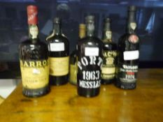 Six bottles of vintage port: Barros Branco-Seco; two Porto Messias 1963; Taylor's Late Bottled