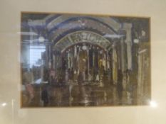 After James Kay R.S.W. (Scottish 1858-1942), The Theatre, coloured print, framed. 24cm by 35cm