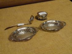 A group of silver comprising: a pair of Edward VIII bon bon dishes, Chester 1936, each oval with