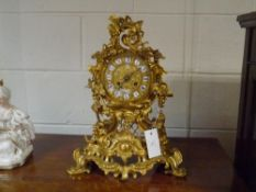 A French gilt-bronze mantle clock, Raingo Freres, mid-19th century, in the Rococo Revival taste, the