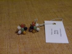 A pair of multi-stone cluster earrings, set with semi precious stones in yellow gold, post and