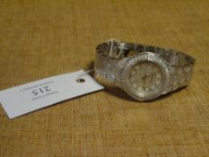 A modern lady's diamond-set wristwatch, Diamond & Co, on a bracelet strap, stainless steel back,