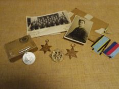 A group of World War II medals and associate materials comprising: The Air Crew Europe Star, The