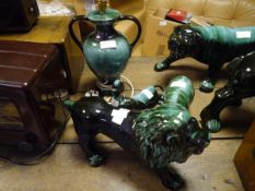 A group of Canadian Blue Mountain Pottery including a lion model and a table lamp (5)
