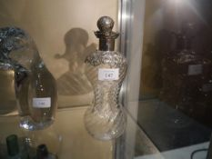 Victorian Birmingham silver topped pinched form decanter (af) to stopper, 24cm tall