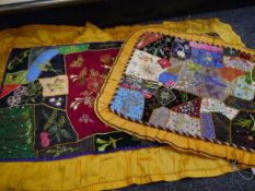 Early 20th century embroidered patchwork pyjama case with WWI flags, anchor, thistle, etc,