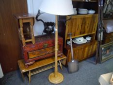 Ercol light elm floor standing lamp with shade