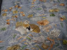 Group of four early 20th century oriental embroidered panels depicting birds and flowers, worked