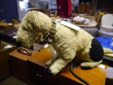 A 1950's Chiltern Toys fox terrier, with original studded collar and lead, label faded.