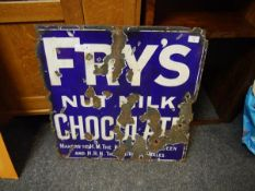 A 1930's Fry's enamel sign, white on blue, a/f 60cm square