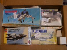 A group of vintage Airfix airplane kits including Hawker Siddeley Buccaneer, Sea Harrier FRS 1 etc