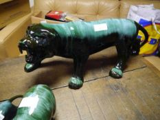 A large Canadian Blue Mountain Pottery model of a snarling tiger. Length 61cm