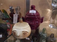 Mid 20th century Sylvac onion form preserve pot and an unmarked Sylvac type beetroot pot