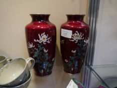 Pair of early 20th century Chinese cloisonne chrysanthemum vases