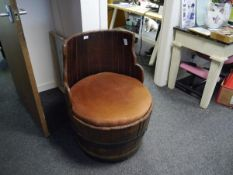 Coopered barrel formed as a chair