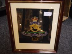 A group of framed silk, woolwork and other fabric military badges including Gulf Campaign badges,