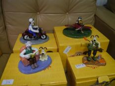 Collection of Coalport Wallace and Gromit bone china figurines including Cheese Holidays, Hold on