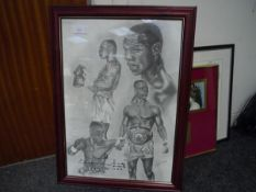 Stephen Kamis boxing print, Chris Eubank, signed