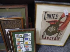 A group of framed militaria including three sets of cigarette cards, John Player R.A.F. badges