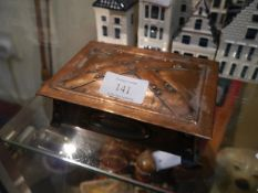 Arts and Crafts copper trinket box, in the manner of Archibald Knox, unsigned, 15cm x 10cm x 4cm