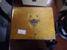 A vintage wooden First Aid box, Wallace, Cameron & Co., Glasgow, with contents