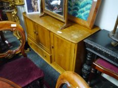 Mid 20th century Ercol light elm sideboard with dressing mirror