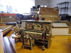 A Louis Marx & Co (Dudley) Merrymakers clockwork mouse band, tinplate novelty toy, c. 1930, the four