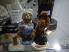 Russian Szeiller Nicholoff earthenware dancing bear vodka miniature and a Bells Scotch whisky