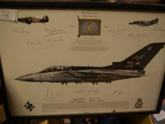 "An RAF Tornado Squadron limited edition signed print, ""The Fighting Cocks"", 80th anniversary of"
