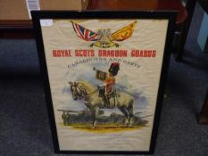 A Royal Scots Dragoon Guards recruitment poster, colour printed and dated 1984, framed. 75cm by