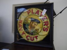 A vintage Players Navy Cut double sided glass and metal suspended illuminated box advertising