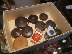 Small collection of 18th/19th century wax seals in turned wooden cases.