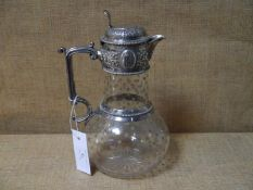 Victorian silver mounted etched and cut glass claret jug, William & George Sissons, Sheffield