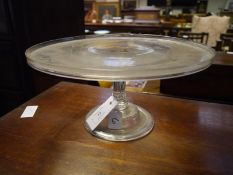 George III glass tazza, c. 1800, with galleried top on a faceted tapering standard and domed
