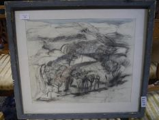 Manner of Sir William George Gillies (Scottish 1898-1973), Wooded Landscape, pen, ink crayon and