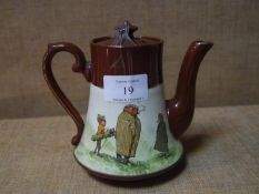Staffordshire novelty teapot, circa 1900, decorated with comic golfing figures highlighted with