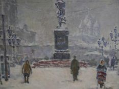 Russian School, c. 1930, Moscow in the Snow, oil on canvas, monogrammed, in a gilt-composition
