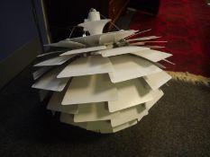 Reproduction white coloured spun aluminium 'Artichoke' ceiling light after Poul Henningsen for Louis
